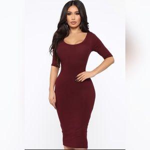 Burgundy/Wine Ribbed Midi Dress